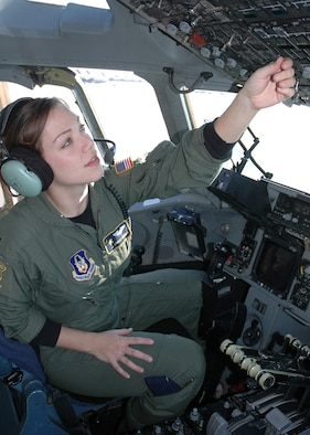 Capt. Lyndsey Goodman is a C-17 pilot with the 317th Airlift Squadron at Joint Base Charleston, South Carolina. Her organization is breaking the pilot shortage trend with 100 percent manning. (Staff Sgt. Jeff Kelly)