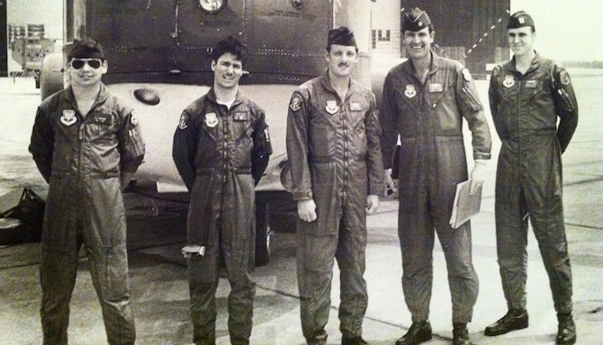 McGregor (second from left) stands with his fellow Airmen from the 703rd Tactical Air Support Squadron at Shaw Air Force Base, South Carolina, in 1979.