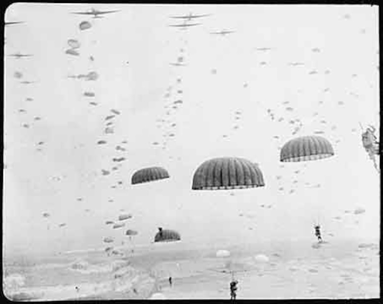 Paratroopers drop over the skies of Holland during D-Day landings. (National Archives)