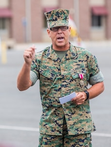 Sergeant Major Slattery retires from the U.S. Marine Corps after 30 years of faithful service and passes his duties and responsibilities as 3d Assault Amphibian Battalion to Sgt. Maj. Garcia on May 5, 2017, at Camp Pendleton, Calif.