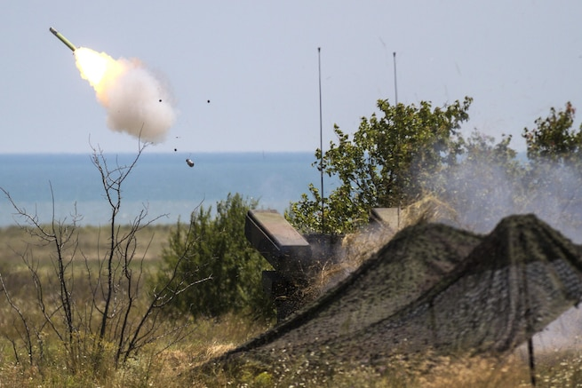 An AN/TWQ-1 Avenger air defense system fires a missile over the Black Sea at Capu Midia Training Area in Romania, July 19, 2017. The drill was part of Tobruq Legacy, an air defense exercise with the U.S. and its NATO allies and partners. Photo by Army Pfc. Nicholas Vidro