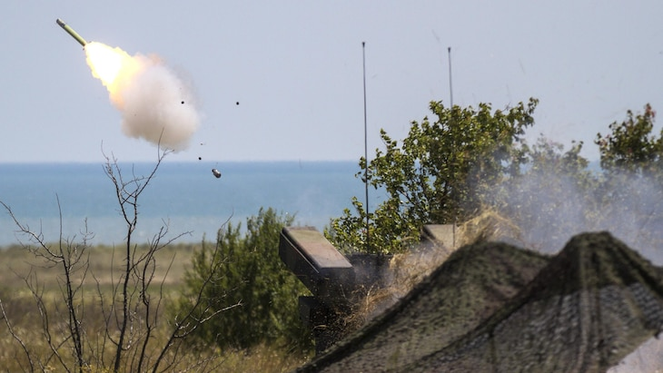 An air defense system fires a missile over the Black Sea.