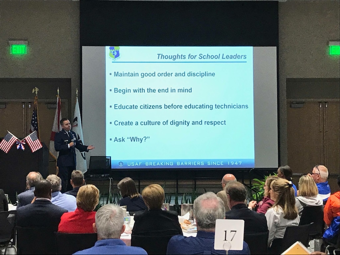 Col. Z. Walter Jackim, 45th Space Wing vice commander, speaks to an audience of Brevard County school board members, superintendents, directors, principals and assistant principals during the Brevard County Public Schools Leadership Summit Speakers event, July 18, 2017, in Palm Bay, Fla. Jackim spoke about the importance of teamwork, how to reach common goals, and how we all work together and contribute to make this community outstanding. (U.S. Air Force photo)