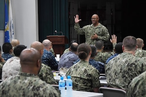 170716-N-XP344-027 NAVAL SUPPORT ACTIVITY BAHRAIN (July 16, 2017) U.S. Naval Forces Europe-Africa Fleet Master Chief Raymond Kemp Sr. speaks to a multinational group of senior enlisted leaders during the Combined Joint Maritime Enlisted Leadership Development Program (ELDP) Back Bone University. During his speech, Kemp instructed participants to be bold and courageous, speak truth to power, and encourage high-velocity learning. ELDP is designed to instill and improve enlisted leadership attributes; allowing senior enlisted leaders to operate more effectively with commander's intent to make sound and ethical decisions, anticipate, communicate and mitigate risk while conducting joint operations. (U.S. Navy photo by Mass Communication Specialist 2nd Class Victoria Kinney)