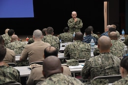 170716-N-XP344-051 NAVAL SUPPORT ACTIVITY BAHRAIN (July 16, 2017) U.S. Naval Forces Central Command Deputy Commander Rear Adm. Pail Schlise speaks to a multinational group of senior enlisted leaders during the Combined Joint Maritime Enlisted Leadership Development Program (ELDP) Back Bone University. ELDP is designed to instill and improve enlisted leadership attributes; allowing senior enlisted leaders to operate more effectively with commander's intent to make sound and ethical decisions, anticipate, communicate and mitigate risk while conducting joint operations. (U.S. Navy photo by Mass Communication Specialist 2nd Class Victoria Kinney)