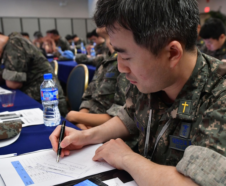 """The 51st Fighter Wing Chaplain Corps hosted the Republic of Korea Air Force's Chaplain Corp for readiness training at Osan Air Base, ROK on July 11, 2017. During the training event, the 51st FW Chaplain's Corp worked with their ROKAF counterparts to ensure all chaplains on peninsula are capable of providing their services making sure all personnel assigned to South Korea are ready to """"Fight Tonight."""""""