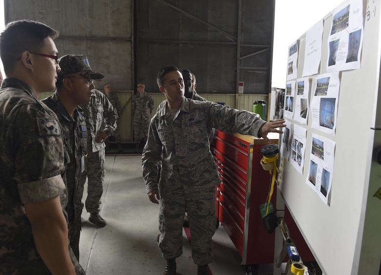 U.S. Air Force Staff Sgt. Joseph Kern, 309th Aircraft Maintenance Group depot aircraft structural maintenance craftsman, briefs Republic of Korea Air Force Col. Cha, Jun Seon, 38th Fighter Group commander, on different corrosion control methods being performed on F-16 Fighting Falcons at Kunsan Air Base, ROK, July 18, 2017. Cha immersed with the 8th Fighter Wing to gain a better understanding of the Wolf Packs role in defending the base and peninsula. (U.S. Air Force photo by Senior Airman Michael Hunsaker/Released)