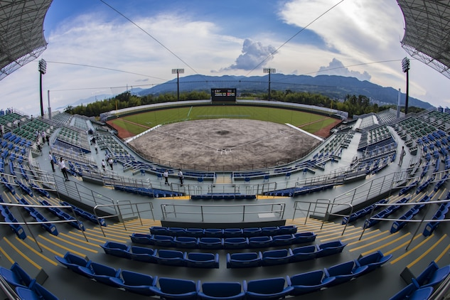 Guests tour Kizuna Stadium during a scoreboard lighting ceremony in Iwakuni City, Japan, July 19, 2017. The ceremony offered a private viewing of the almost completed stadium that is to be used by U.S. service members, their families and local Japanese.  (U.S. Marine Corps photo by Cpl. Joseph Abrego)