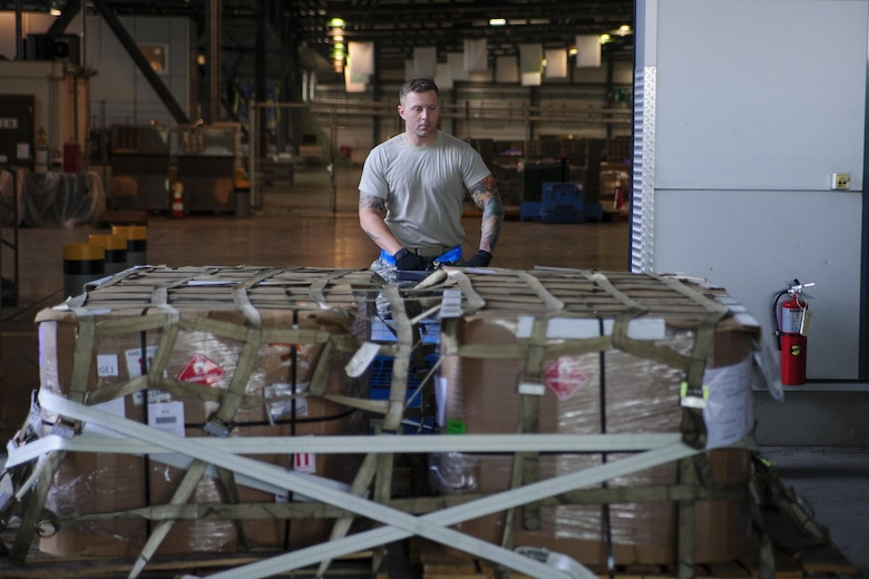"Tech. Sgt. William Anderson, an Airman from the 81st Aerial Port Squadron, Joint Base Charleston, conducts off-station annual training in the special handling section at Ramstein Air Base, Germany, July 19, 2017. Anderson's use of this ICEM pallet mover, nicknamed ""Blue Goose,"" allows him to move large pallets of cargo with ease.  (U.S. Air Force photo by Senior Airman Jonathan Lane)"