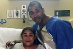 Staff Sgt. Franciscoadan Orellana, a personnel specialist with the Louisiana Air National Guard's 159th Mission Support Group, 159th Fighter Wing, poses with his sister, Alejandra Orellana, prior to their kidney transplant procedure, April 11, 2017. Orellana donated his kidney to his sister who was suffering from acute renal failure. Courtesy Photo