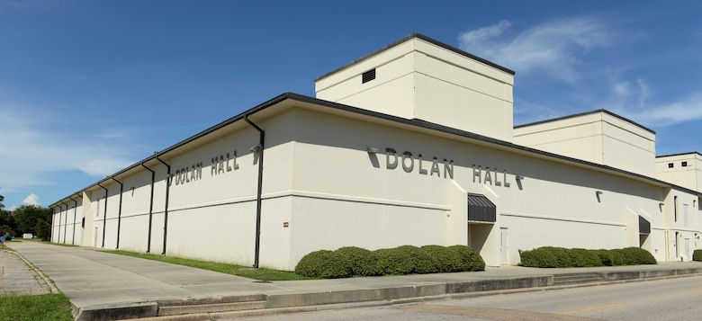 Dolan Hall is located on Hangar Rd. and D St., Bldg. 4115. Today, thousands of Airmen from the 333rd, 334th, 336th, and 338th Training Squadrons pass through this building annually and take what they learn and apply it at their next base. Dolan Hall also houses the Sexual Assault Prevention and Response Office, who can be reached on their hotline at (228) 377-7278. (U.S. Air Force photo by 2nd Lt. Toney Doan)