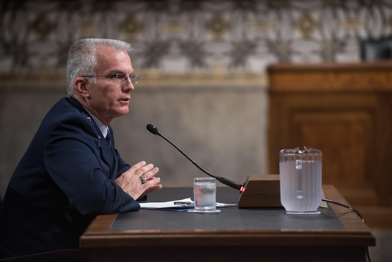 U.S. Air Force Gen. Paul J. Selva, Vice Chairman of the Joint Chiefs of Staff, testifies during a Senate Armed Services Committee hearing on Capitol Hill in Washington, July 18, 2017. The hearing was held to consider Gen. Selva's reappointment to the grade of general and as the Vice Chairman.