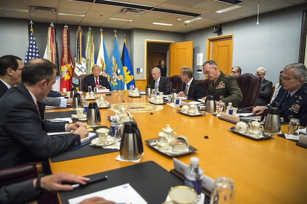 President Donald J. Trump speaks to Defense Secretary Jim Mattis and members of the National Security Council during a meeting at the Pentagon, July 20, 2017. DoD photo by Army Sgt. Amber I. Smith