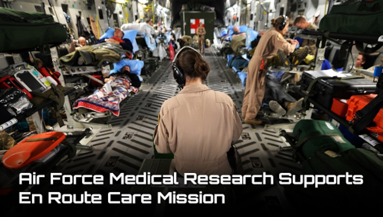 Members of the of the 455th Expeditionary Aeromedical Evacuation Squadron assist patients on medical transport flight out of Bagram Airfield, Afghanistan. Air Force nurse scientists are conducting valuable research to improve en route patient care during aeromedical evacuations.