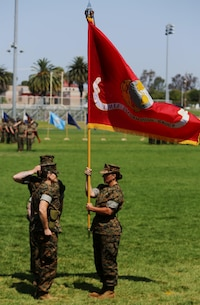 Col. Bobbi Shea (right) relinquishes the I Marine Expeditionary Force Information Group colors to Col. Dawn R. Alonso (left) during a change of command and re-designation ceremony at Camp Pendleton, Calif., July 6, 2017. During the ceremony I MEF Headquarters Group was re-designated as I MEF Information Group to support I MEF in the expanding information environment. (U.S. Marine Corps photo by Lance Cpl. Robert A Alejandre)