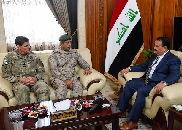 Baghdad, Iraq--U.S. Army Gen Joseph L. Votel, commander United States Central Command, and General Al Banyan, Kingdom of Saudi Arabia Chairman of Defense meet with ‎Erfan al-Hiyali, Iraq minister of defense during the Chairman of Defense tri-lateral discussion between Iraq, Saudi Arabia and the United States during his visit to Iraq July 20, 2017. Votel met with military leaders of Iraq and Saudi Arabia to discuss security and stability in the region.  (Department of Defense photo by U.S. Air Force Tech Sgt. Dana Flamer)