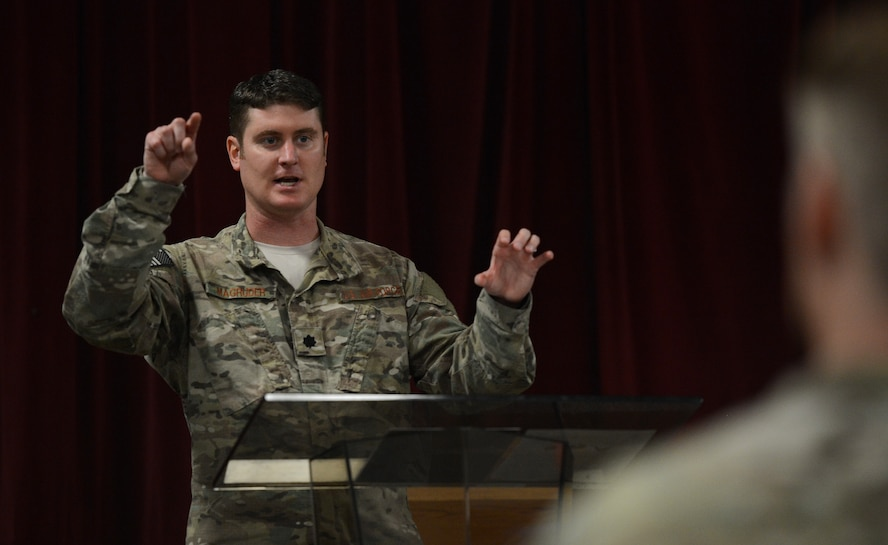 Lt. Col. Daniel Magruder, commander  of the 22nd Special Tactics Squadron, speaks to Airmen about joint leadership July 7, 2017, at a Lunch N' Learn event at Joint Base Lewis-McChord, Wash. As a Special Tactics officer who largely operates in joint air and ground domains, Magruder spoke about lessons he's learned from joint deployments. (U.S. Air Force photo/Senior Airman Jacob Jimenez)