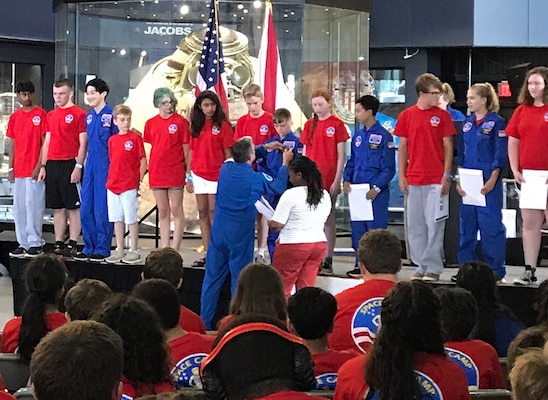 Jayce Neal graduates from Space Camp Friday at the U.S. Space & Rocket Center. A West Virginia resident, his stay in the Rocket City was made possible thanks to the Failure is Not an Option Scholarship Fund.