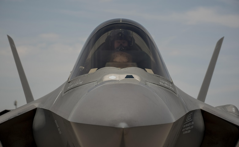 An F-35A Lightning II pilot awaits permission to taxi July 18, 2017, at Nellis Air Force Base, Nev. The 33rd Fighter Wing and Marine Attack Squadron 221 from Yuma, Ariz., participated in the first combat exercise with Air Force F-35As and Marine Corps F-35Bs operating simultaneously during Red Flag 17-3. The large scale exercise, which was developed to provide pilots with critical experience in combat situations, enabled F-35 pilots to plan and train using the same tactics, techniques and procedures. (U.S. Air Force photo by Staff Sgt. Peter Thompson)