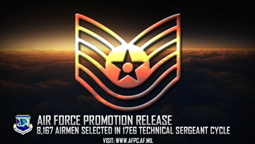 Congratulations to the 8,167 Airmen selected for technical sergeant in the 17E6 promotion cycle! The list is available on myPers and the Air Force Portal and Airmen can access their score notices on the virtual Military Personnel Flight via the secure applications page. (U.S. Air Force graphic by Staff Sgt. Alexx Pons)