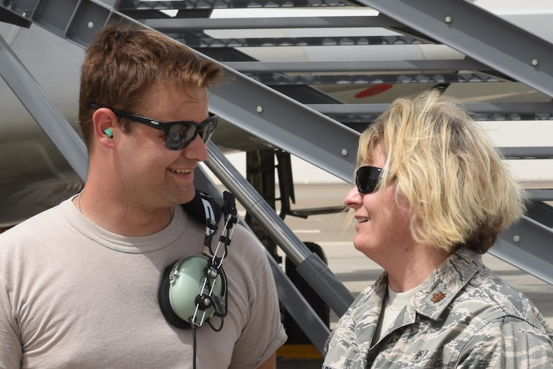 Senior Airman Colt, left, and his mother Maj. Donna, right, reunite at Al Dhafra Air Base, United Arab Emirates, July 20, 2017, after spending two years apart. Donna decided to surprise her son with a brief visit when their deployment windows overlapped. (U.S. Air Force photo by Staff Sgt. Marjorie A. Bowlden)