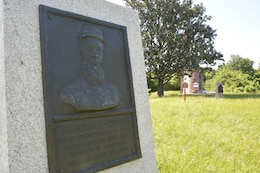 """A relief portrait memorializes Confederate Brig. Gen. Martin Green, one of four Confederate generals killed in action during the campaign. Green's last words disregarded the threat of enemy fire:  """"A bullet has not been molded that will kill me."""" Union sharpshooters proved otherwise."""
