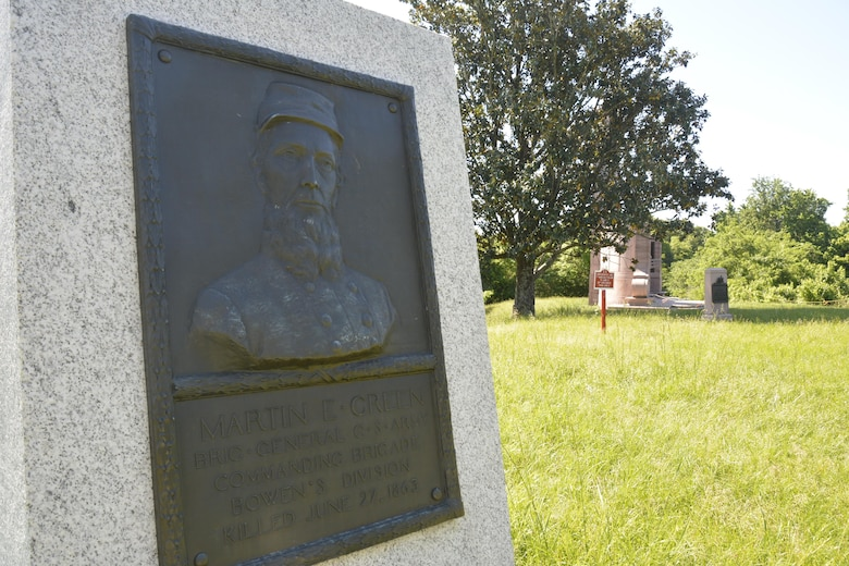 "A relief portrait memorializes Confederate Brig. Gen. Martin Green, one of four Confederate generals killed in action during the campaign. Green's last words disregarded the threat of enemy fire:  ""A bullet has not been molded that will kill me."" Union sharpshooters proved otherwise."