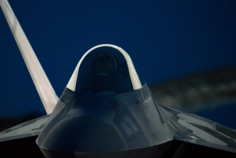 A 1st Fighter Wing F-22 Raptor taxis before take off at Joint Base Langley-Eustis, Va., July 11, 2017. The wing conducted night flying training missions to keep pilots current on skills needed to operate in the dark. (U.S. Air Force Photo/Master Sgt. Benjamin Wilson)