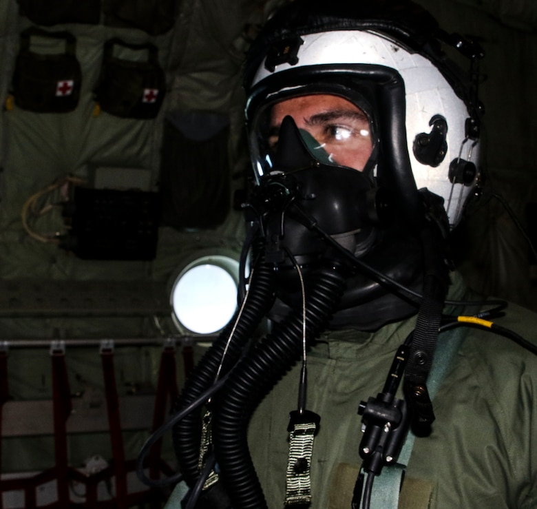 A Marine assigned to Marine Aerial Refueler Transport Squadron 252 participates in a Chemical, Biological, Radiological, and Nuclear training exercise at Marine Corps Air Station Cherry Point, July 13, 2017. The training expanded upon the Marines knowledge of how to properly react and contain a CBRN attack aboard a KC-130J Super Hercules. VMGR-252 is assigned to Marine Aircraft Group 14, 2nd Marine Aircraft Wing. (U.S. Marine Corps photo by Cpl. Jason Jimenez/ Released)