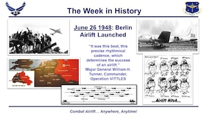 """June 26, 2017, marked the 69 years since the launch of the Berlin Airlift, also known as Operation Vittles here in the States.   Relations between the US and the Soviet Union soured shortly after the war, and on June 24, 1948, Soviet forces blockaded rail, road, and water access to the Allied-controlled areas of Berlin. This was one of the earliest and defining moments of the Cold War.  Yet rather than provoke another conflict, the Truman administration resolved to resupply the Western-section of Berlin by air.  Operation Vittles launched two days after the Soviet blockade, with C-47s and C-54s forming the backbone of the airlift.  The most critical item Berliners depended upon was fuel, with coal making up roughly 65 percent of the total tonnage flown into the western half of the city.  The beginning of the airlift proved difficult, but over time it became increasingly efficient with aircraft eventually departing every three minutes for Berlin.  As the last commander of the Berlin Airlift Major General William H. Tunner later reflected, """"It was this beat, this precise rhythmical cadence, which determines the success of an airlift.""""  Once the Western Allies had demonstrated that they could sustain the intensity of the operation, Moscow eventually relented and lifted the blockade in May 1949, though the airlift would continue through the summer and into the fall.  The Berlin Airlift lasted fifteen months and delivered nearly 2.3 million tons of supplies into Berlin. American aircrews made more than 189,000 flights, totaling nearly 600,000 flying hours and exceeding 92 million miles."""