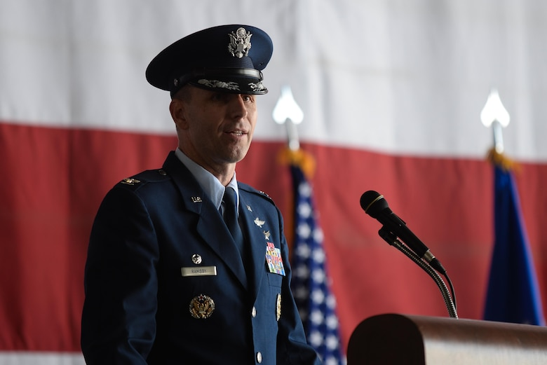 Col. Corey Ramsby gives his first speech as the 55th Comminications Group commander during a cchange of command ceremony July 14, 2017 in the  Bennie L. Davis Maintenance Facility on Offutt Air Force Base, Neb. Col. Ramsby comes to the Fightin' Fifty-Fifth from Air Force Space Command, where he was the chief of the Cyberspace Operations Division, Directorate of Integrated Air, Space, Cyberspace and Intelligence, Surveillance and Reconnaissance Operations. (U.S. Air Force photo by Zachary Hada)