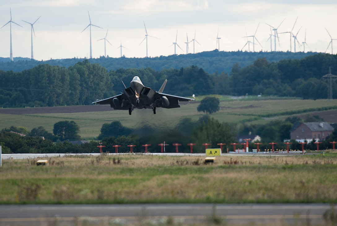 The Air Force Encroachment Management program, headed by the AFCEC Planning and Integration Directorate, assist with addresses encroachment and sustainment challenges for missions like the F-22 Raptor landing at Spangdahlem Air Base Germany.  These challenges have the potential to affect both the Air Force mission and the quality of life in surrounding.  AFCEC will host the annual Air Force Encroachment Management (AFEM) training event 1-3 August 2017.  (U.S. Air Force photo by Staff Sgt. Chad Warren/Released)