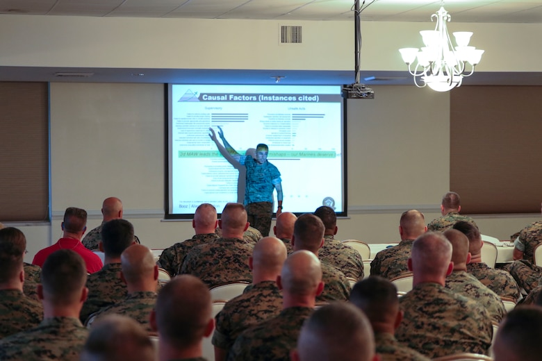Maj. Gen. Matthew Glavy gives a presentation during the maintenance symposium held at Marine Corps Air Station New River, N.C., July 18, 2017. The symposium was focused around providing the Marines on the flight lines the tools to increase readiness and safety. Glavy is the commanding general of 2nd Marine Aircraft Wing. (U.S. Marine Corps photo by Cpl. Cody Lemons/released)