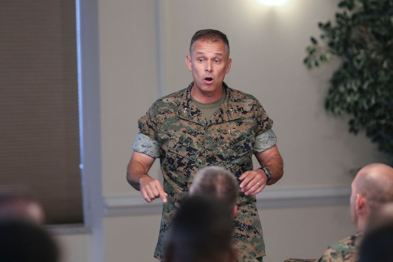 Maj. Gen. Matthew Glavy speaks to commanders and maintenance personnel during the maintenance symposium held at Marine Corps Air Station New River, N.C., July 18, 2017. The symposium allowed commanders and maintenance personnel a platform to brainstorm ideas on how to continue increase readiness. Glavy is the commanding general of 2nd Marine Aircraft Wing. (U.S. Marine Corps photo by Cpl. Cody Lemons/released)