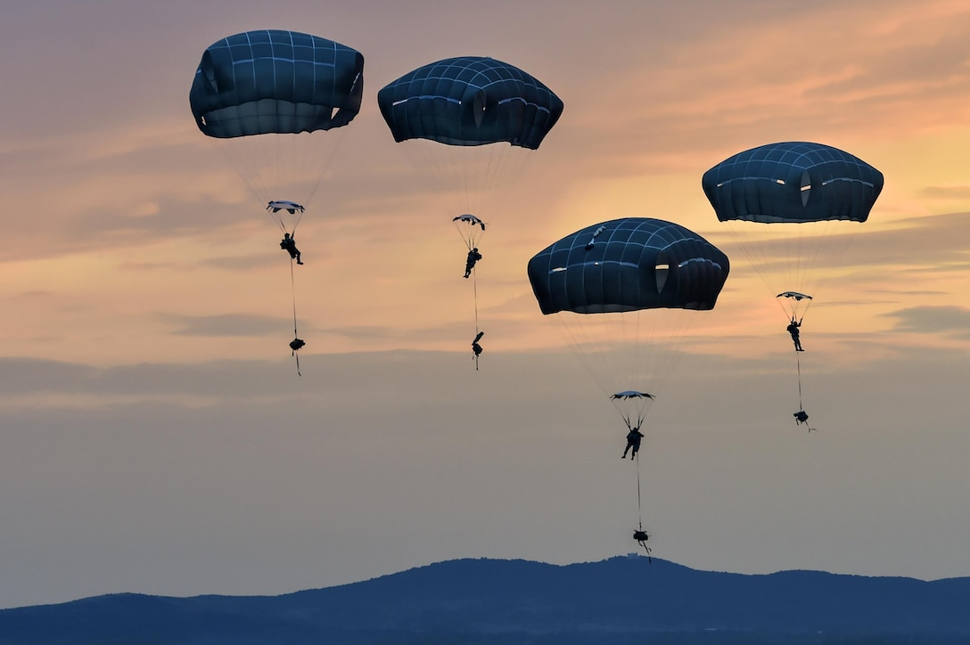 Paratroopers conduct entry training during Exercise Saber Guardian 17 over Bezmer Air Base, Bulgaria, July 18, 2017. The exercise prepares soldiers for airfield seizure operations. Air Force photo by Tech. Sgt. Liliana Moreno