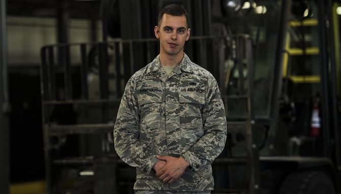 Senior Airman Brian Kamphaus, a 92nd Logistics Readiness Squadron material management journeyman, joined the military following in the footsteps of his father and grandfather and has been serving in the Air Force for more than three years, making the most of every possible minute. (U.S. Air Force photo/Senior Airman Sean Campbell)