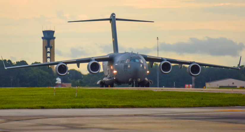 A C-17 Globemaster III taxis on the runway at Joint Base Charleston, S.C. July 18, 2017.  The C-17 is capable of rapid strategic delivery of troops and all types of cargo to main operating bases or directly to forward bases in a deployment area. The aircraft can perform tactical airlift and airdrop missions and can transport litters and ambulatory patients during aeromedical evacuation.