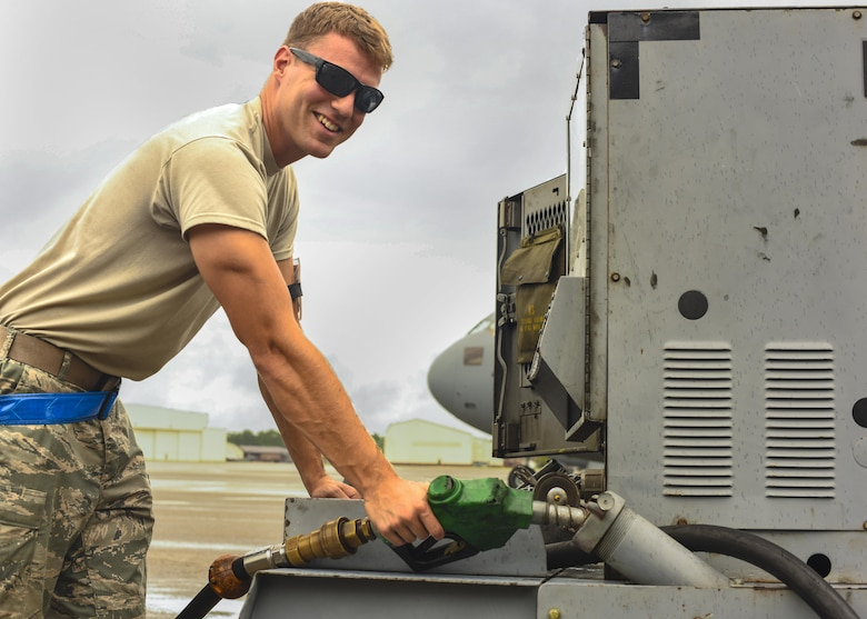 Airman 1st Class Jack Figgatt, 437th Maintenance Squadron aerospace ground equipment technician, fuels supporting ground equipment on the flightline on Joint Base Charleston, S.C. July 17, 2017. The 437th Airlift Wing maintainers enable aircraft and personnel to perform global airlift missions ranging from combat support operations, humanitarian relief and aeromedical evacuations.