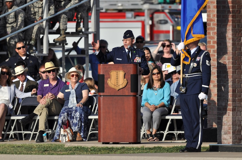 U.S. Air Force Maj. Gen. Robert LaBrutta, 2nd Air Force Commander, thanks the 17th Training Wing for their support during the tenure of Col. Michael Downs, 17th TRW Commander, at the change of command ceremony on the parade field at Goodfellow Air Force Base, Texas July 21, 2017. The change of command ceremony is a time honored tradition for the orderly transfer of authority from the departing commander to the new commanding officer. The 17th Training Wing's mission is to develop and inspire exceptional intelligence, surveillance and reconnaissance, and fire protection professionals for America and her allies. (U.S. Air Force photo by Russell Stewart/Released)