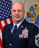 Official Photo of Chief Master Sgt. James McCloskey, Command Chief of the 177th Fighter Wing, NJ Air National Guard, at the Atlantic City Air National Guard Base in Egg Harbor Township, N.J. on Mar. 7, 2017. (U.S. Air National Guard photo by Master Sgt. Andrew J. Moseley/Released)