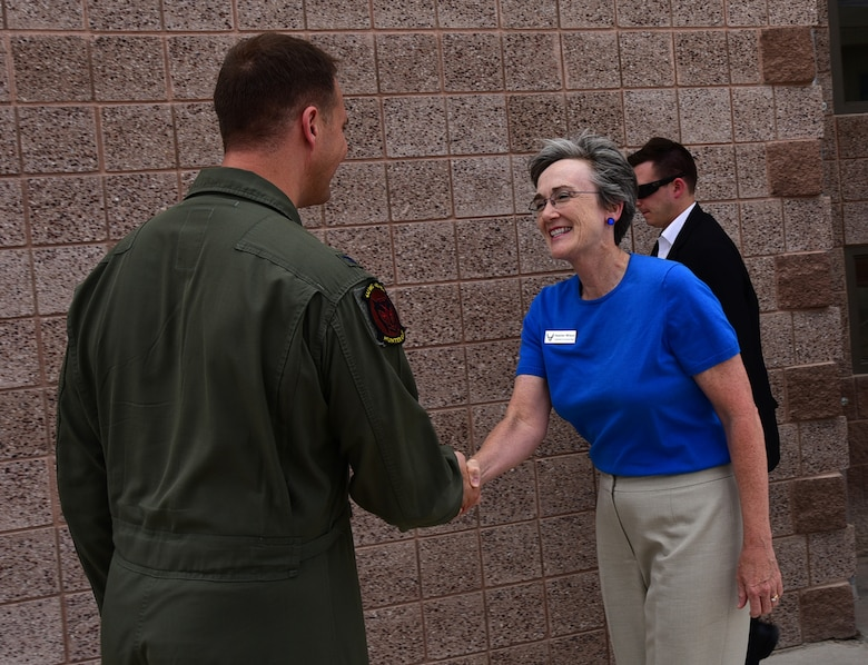 Secretary of the Air Force Heather Wilson meets with Col. Julian Cheater, 432nd Wing/432nd Air Expeditionary Wing commander, July 19, 2017, at Creech Air Force Base, Nev. During her visit, Wilson toured the base and gained insight into the dominant persistent attack and reconnaissance mission the Airmen of the 432nd WG complete 24/7/365 for our nation and coalition partners. (U.S. Air Force photo/Senior Airman Christian Clausen)