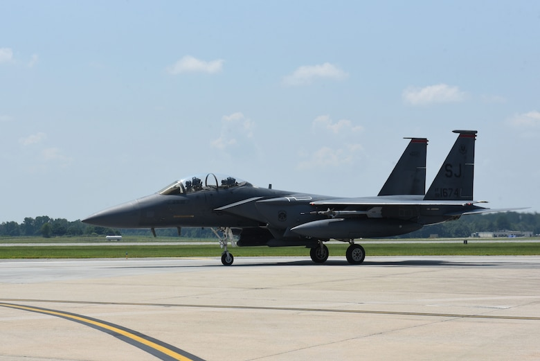 An F-15E Strike Eagle taxis to the runway during exercise Thunderdome 17-02, July 21, 2017, at Seymour Johnson Air Force Base, North Carolina. The exercise allowed members of the 4th Fighter Wing to strengthen skills for real-world operations. (U.S. Air Force photo by Airman 1st Class Victoria Boyton)