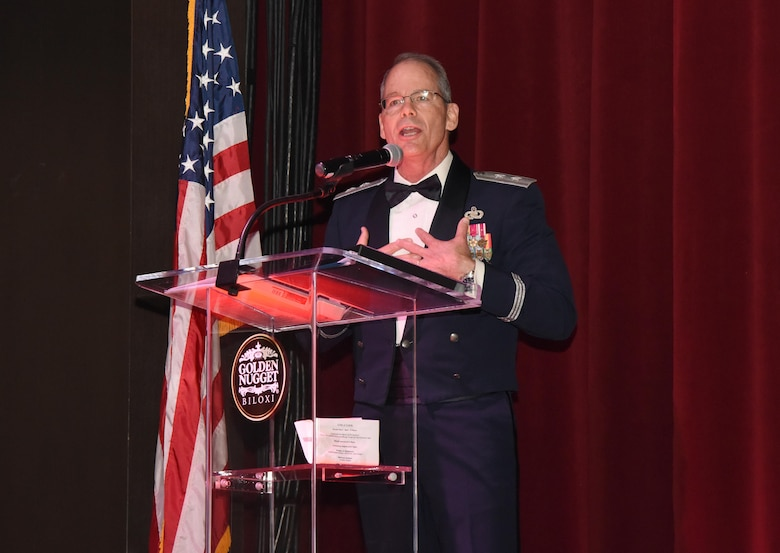 Maj. Gen. Bob LaBrutta, 2nd Air Force commander, delivers remarks as the guest speaker during the 2nd Annual Crusaders for Veterans Freedom Ball at the Golden Nugget Hotel and Casino July 15, 2017, in Biloxi, Miss. During the event, Crusaders for Veterans, a volunteer organization focused on helping veterans in need, held the event to recognize the careers of current commanders leaders in the local area. (U.S. Air Force photo by Kemberly Groue)
