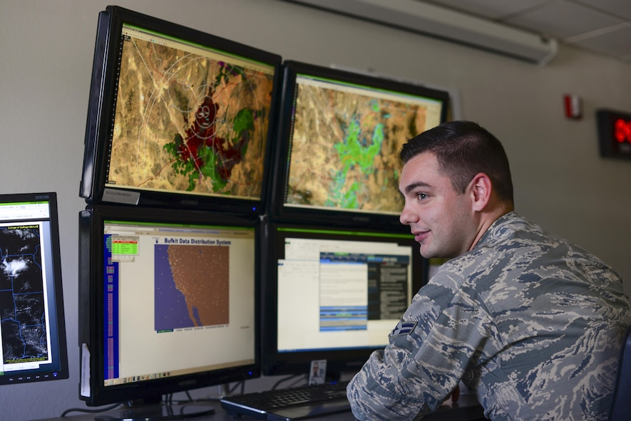 U.S. Air Force Airman 1st Class Cody Leahy, 25th Operational Weather Squadron forecaster, monitors radar at Davis-Monthan Air Force Base, Ariz., July 19, 2017. Leahy was monitoring base wind velocity and weather conditions of Nellis AFB, Nev. (U.S. Air Force photo by Airman 1st Class Michael X. Beyer)