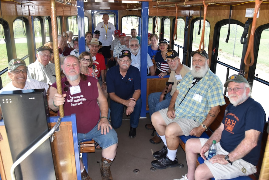 The 355th Red Horse Squadron Vietnam Veterans Reunion group visited Sheppard Air Force Base, July 21, 2017. The group toured the base on a trolley provided by the city of Wichita Falls. (U.S. Air Force photo by 2nd Lt. Jacqueline Jastrzebski)