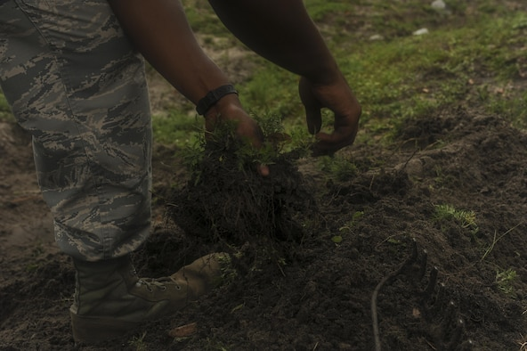 Senior Airman Jordan McGinnis, a pavements and construction equipment journeyman with the 1st Special Operations Civil Engineering Squadron, pulls weeds while regrading a ditch on Hurlburt Field, Fla., July 18, 2017. The process of regrading entails leveling and redesigning the land, maintaining storm drains and preventing flooding as part of an ongoing process during hurricane season. (U.S. Air Force photo by Airman 1st Class Rachel Yates)
