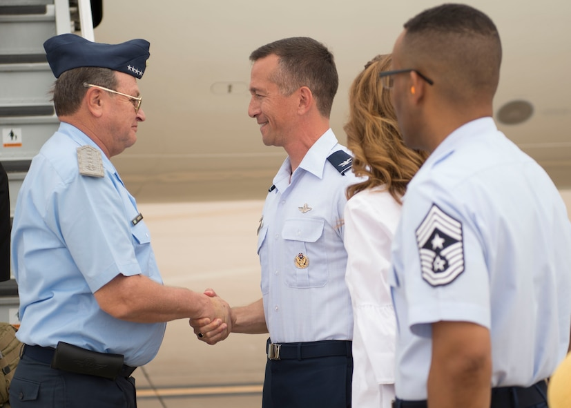 Col. Houston Cantwell, 49th Wing commander, greets Brig. Gen. Enrique Amrein, Argentine air force chief of staff, as he arrives for tour of Holloman Air Force Base, N.M., July 20, 2017. While at Holloman, Amrein learned about the remotely piloted aircraft training program and what pilots, sensor operators and maintainers experience during their time here. (U.S. Air Force photo by Senior Airman Chase Cannon)
