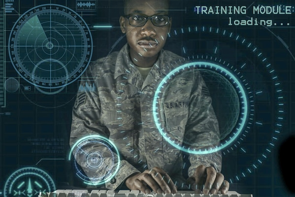 Exploitation Analyst airmen assigned to the 41st Intelligence Squadron have begun using advanced mobile desktop training that uses an environment to challenge each individual analyst in cyberspace maneuvers to achieve mission objectives at Fort George G. Meade, Md. Air Force Illustration by Staff Sgt. Alexandre Montes