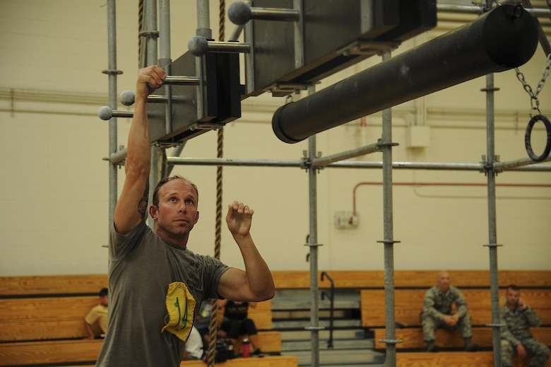 U.S. Air Force Staff Sgt. Sean, 48th Rescue Squadron pararescuemen, begins the Alpha Warrior Competition at Davis-Monthan Air Force Base, Ariz., July 21, 2017. The top three male and female performers received a variety of prizes such as a complimentary lunch for Club Ironwood and sporting goods. (U.S. Air Force photo by Senior Airman Mya M. Crosby)