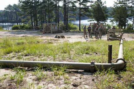 U.S. Army Reserve Soldiers with the 728th Quartermaster Company, Fremont, Neb., operate an Inland Pipeline Distribution System during QLLEX 2017, July 21, at Fort Bragg, NC. QLLEX, short for Quartermaster Liquid Logistics Exercise, is the U.S. Army Reserve's premier readiness exercise for fuel and water distribution. This year's QLLEX is not only a full demonstration of the capability, combat-readiness, and lethality of America's Army Reserve to put fuel and water where it is needed most – in the vehicles and hands of the war-fighter and maneuver units – but it also further exercises the interoperability of the U.S. Army Reserve alongside active Army and British Army logisticians. (U.S. Army Reserve photo by Timothy L. Hale) (Released)